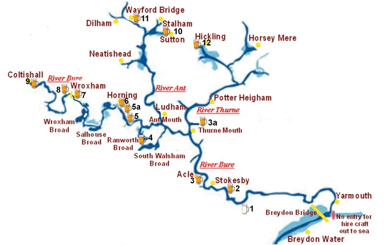 Map Of The Norfolk Broads Norfolk Broads Riverside Pubs Map Map Of The Norfolk Broads